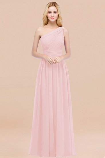 Chic One-shoulder Sleeveless Burgundy Chiffon Bridesmaid Dresses Online_3