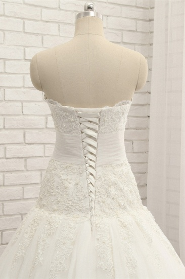 Glamorous Strapless Tulle Lace Wedding Dress Sweetheart Sleeveless Bridal Gowns with Appliques On Sale_5