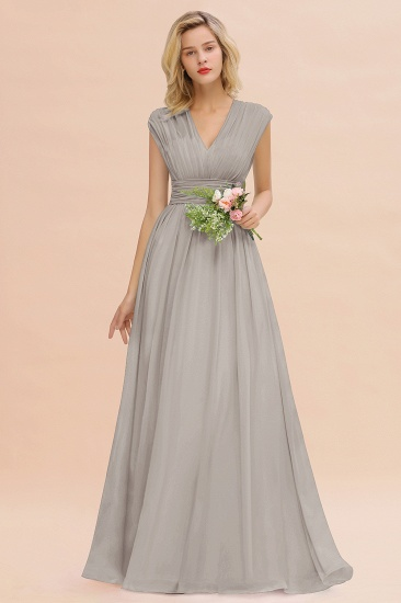Elegant Chiffon V-Neck Ruffle Long Bridesmaid Dresses Affordable_30