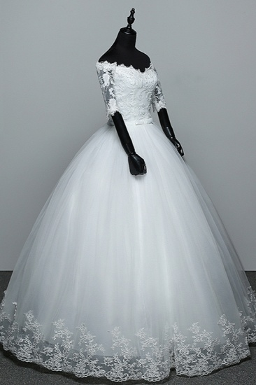 Gorgeous Off-the-Shoulder Sweetheart Wedding Dress Tulle Lace White Bridal Gowns with Half Sleeves_4