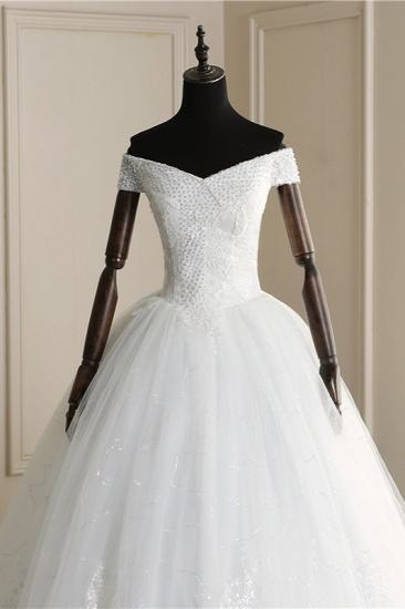 BMbridal Affordable Off-the Shoulder Sweetheart Tulle Wedding Dress Appliques Sleeveless Bridal Gowns with Pearls_6