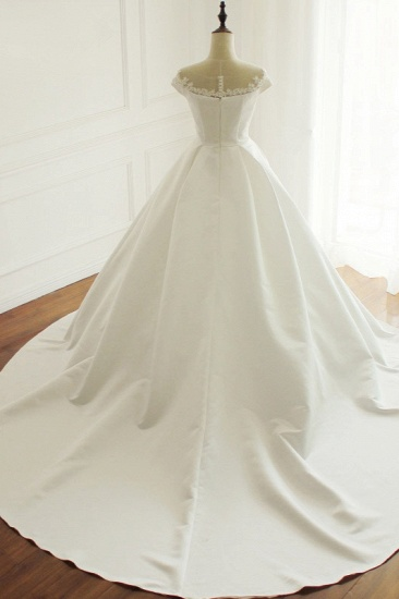 Simple A-Line Satin Jewel Ruffle Wedding Dress Tulle Lace Appliques Sleeveless Bridal Gowns On Sale_3