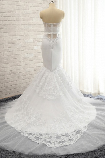 BMbridal Affordable Sweetheart White Lace Wedding Dresses Tulle Satin Bridal Gowns With Appliques On Sale_3