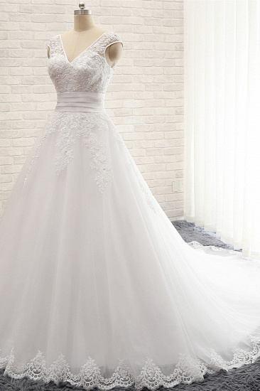 Affordable V-Neck Tulle Lace Wedding Dress A-Line Sleeveless Appliques Bridal Gowns with Beadings Online_4