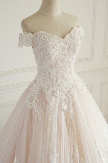 BMbridal Elegant Off-the-Shoulder Tulle Lace Wedding Dress Sweetheart Appliques Sleeveless Bridal Gowns On Sale_5