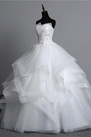 Gorgeous Strapless Tulle Layers Wedding Dress Appliques Beadings Bridal Gowns Online_5