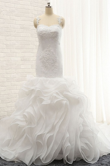 BMbridal Sexy Sleeveless Straps Ruffles Wedding Dresses With Appliques White Mermaid Satin Bridal Gowns Online_1