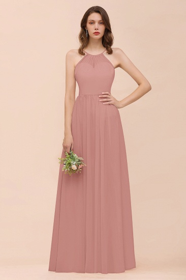 BMbridal Gorgeous Chiffon Halter Ruffle Affordable Long Bridesmaid Dress_50