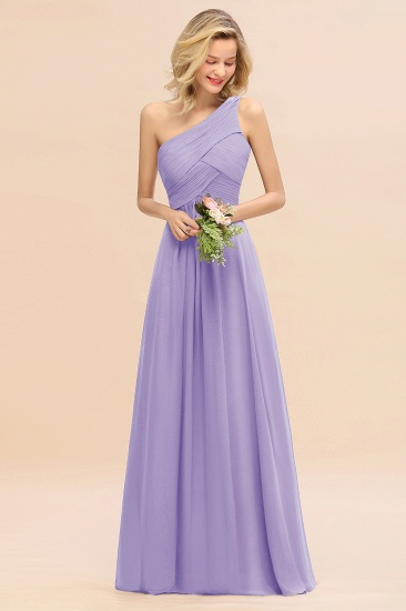 Chic One Shoulder Ruffle Grape Chiffon Bridesmaid Dresses Online_21