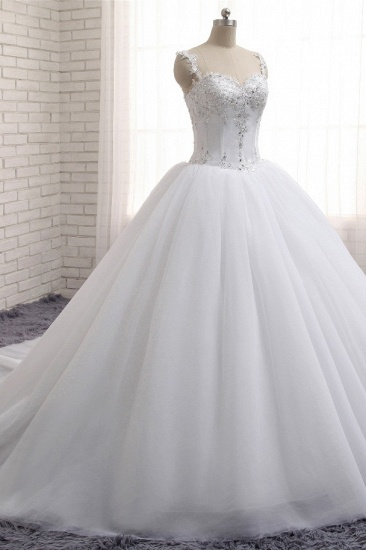 BMbridal Stunning White Tulle Lace Wedding Dress Strapless Sweetheart Beadings Bridal Gowns with Appliques_4