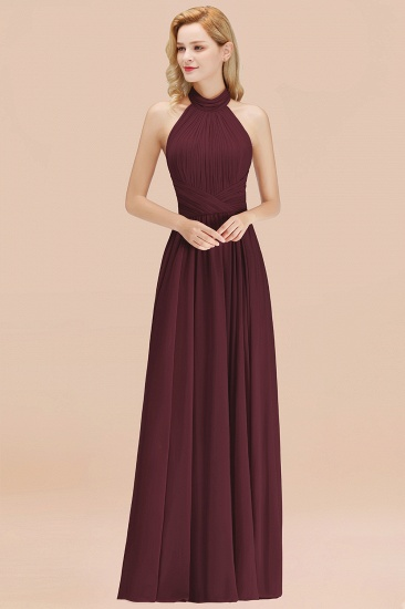 Gorgeous High-Neck Halter Backless Bridesmaid Dress Dusty Rose Chiffon Maid of Honor Dress_47