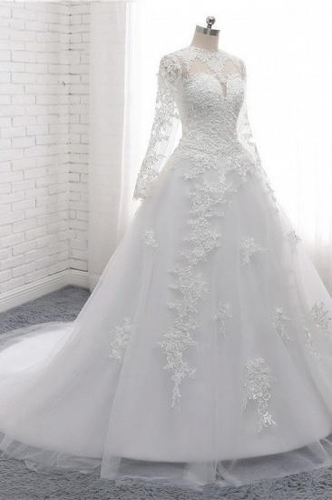 Modest Jewel White Tulle Lace Wedding Dress Long Sleeves Appliques A-Line Bridal Gowns On Sale_4