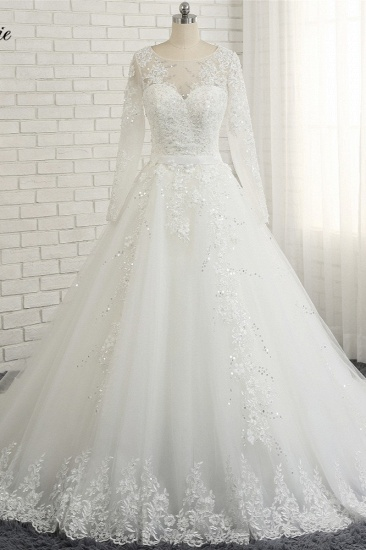 Modest Jewel Longsleeves White Wedding Dresses A-line Tulle Ruffles Bridal Gowns On Sale_1