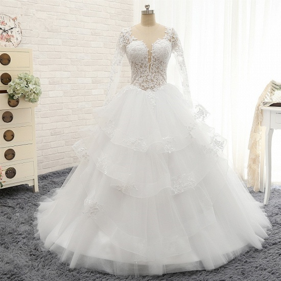 Glamorous Longlseeves Tulle Ruffles Wedding Dresses Jewel A-line White Bridal Gowns With Appliques On Sale_7
