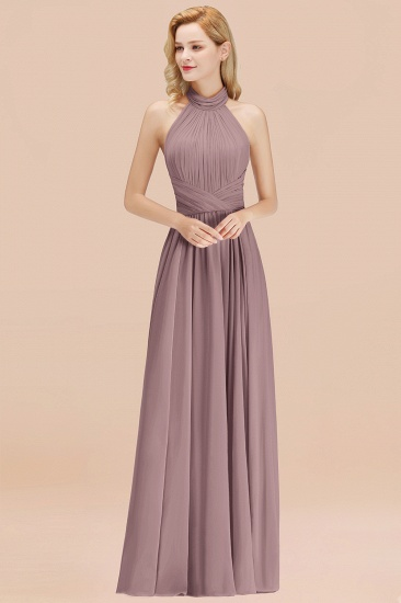Gorgeous High-Neck Halter Backless Bridesmaid Dress Dusty Rose Chiffon Maid of Honor Dress_37