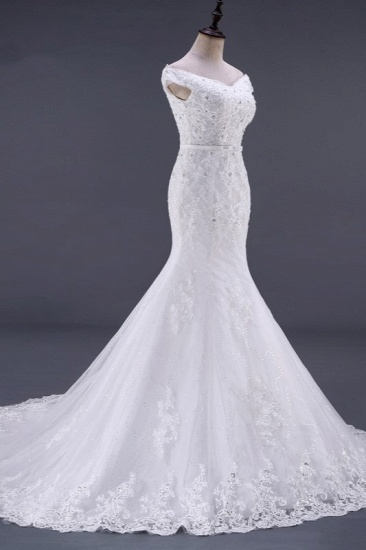 BMbridal Elegant Mermaid Off-the-Shoulder White Wedding Dress Sweetheart Sleeveless Lace Appliques Bridal Gowns with Rhinestones_4