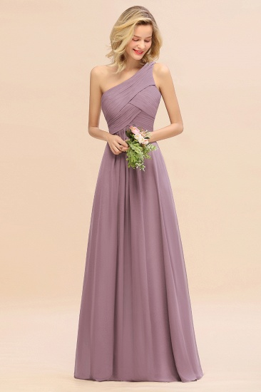 Chic One Shoulder Ruffle Grape Chiffon Bridesmaid Dresses Online_43