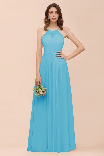 BMbridal Gorgeous Chiffon Halter Ruffle Affordable Long Bridesmaid Dress_24