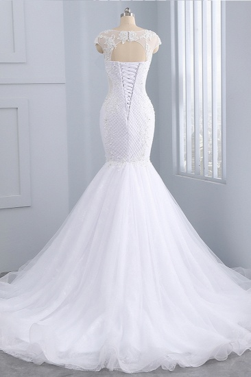 BMbridal Stunning Jewel Tulle Lace Mermaid Wedding Dress Sleeveless Appliques Bridal Gowns On Sale_3