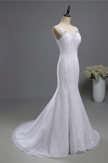 Affordable Jewel Lace Sequins Mermaid Wedding Dress Sleeveless Appliques Bridal Gowns with Crystals_4