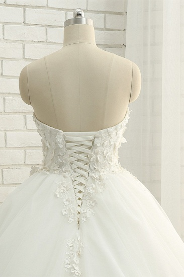 Gorgeous Sweatheart White Wedding Dresses With Appliques A line Tulle Ruffles Bridal Gowns Online_6