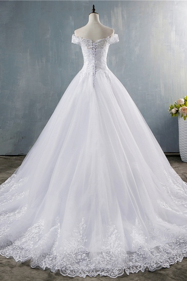 Gorgeous Off-the-Shoulder White Tulle Wedding Dress Lace Appliques Bridal Gowns On Sale_3