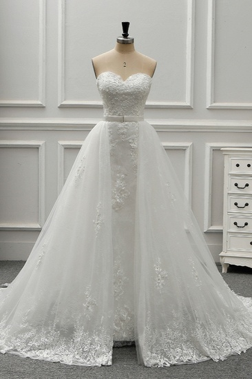 BMbridal Stylish Strapless Sweetheart Tulle White Wedding Dress Appliqes Sleeveless A-Line Bridal Gowns On Sale_1