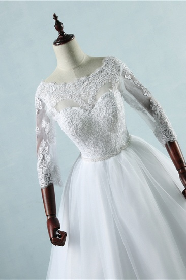 Elegant Jewel Tulle Lace Wedding Dress 3/4 Sleeves Appliques A-Line Bridal Gowns On Sale_6