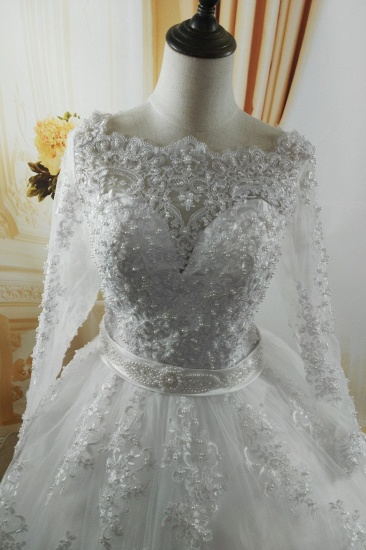 BMbridal Gorgeous Tulle Lace White Wedding Dress Long Sleeves Appliques Bridal Gowns with Pearls_4