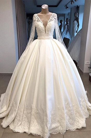 Elegant V-neck Longsleeves White Wedding Dresses Satin Lace Bridal Gowns With Appliques On Sale_1