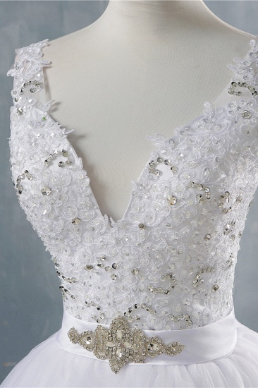BMbridal Chic Starps V-Neck Beadings Tulle Wedding Dress Sleeveless Appliques Bridal Gowns with Rhinestones_8