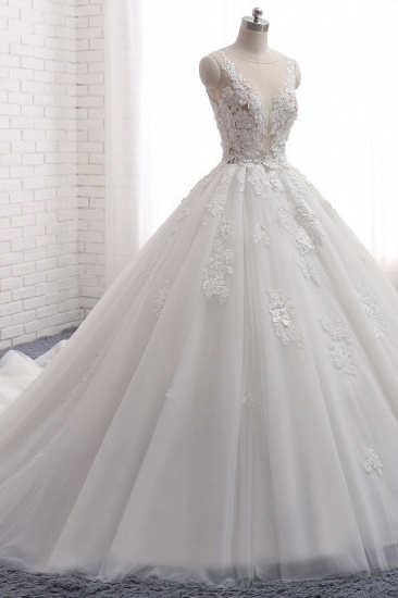 Elegant Straps Sleeveless White Wedding Dresses With Appliques A line Tulle Bridal Gowns On Sale_4
