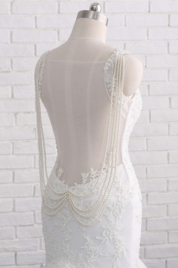 BMbridal Gorgeous Spaghetti Straps V-Neck Mermaid Wedding Dress White Lace Appliques Sleeveless Bridal Gowns Online_6