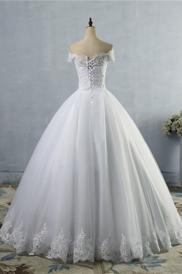 BMbridal Affordable Off-the-Shoulder Lace Tulle Wedding Dress Short Sleeves White Bridal Gowns On Sale_3