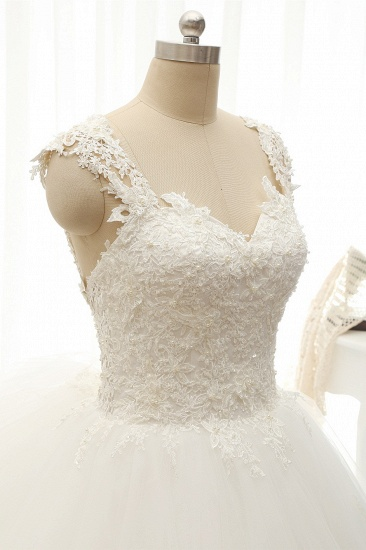 Chic Straps Sleeveless Tulle Wedding Dresses With Appliques White A-line Bridal Gowns Online_5
