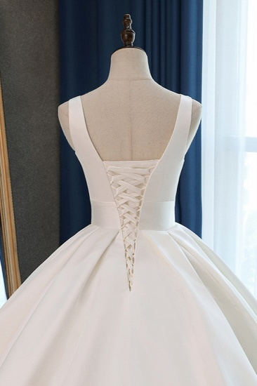 BMbridal Sexy Deep-V-Neck Straps Satin Wedding Dress Ball Gown Ruffles Sleeveless Bridal Gowns Online_7