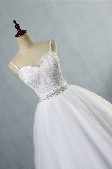 BMbridal Elegant Spaghetti Straps Sweetheart Wedding Dress White Tulle Appliques Bridal Gowns with Beadings Sash_5