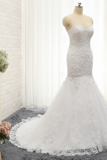 Affordable Strapless Tulle Lace Wedding Dress Sleeveless Sweetheart Bridal Gowns with Appliques On Sale_4