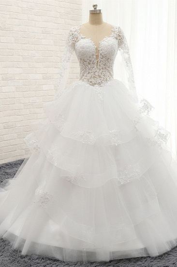 Glamorous Longlseeves Tulle Ruffles Wedding Dresses Jewel A-line White Bridal Gowns With Appliques On Sale_1