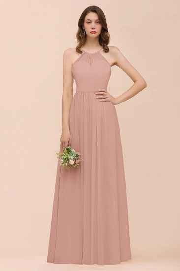 BMbridal Gorgeous Chiffon Halter Ruffle Affordable Long Bridesmaid Dress_6