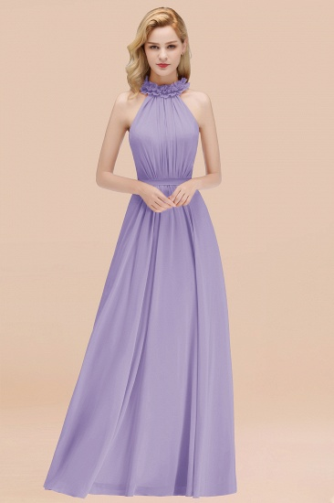 Modest High-Neck Halter Ruffle Chiffon Bridesmaid Dresses Affordable_21