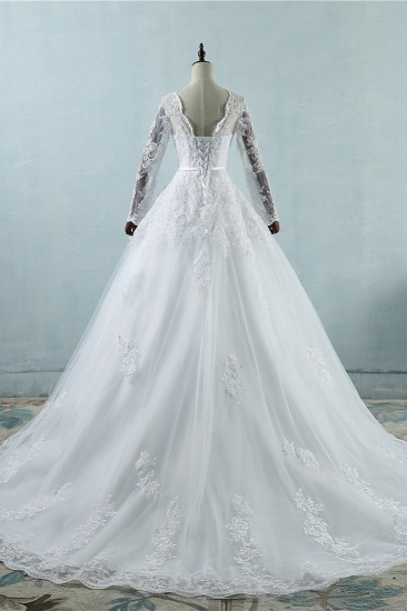 BMbridal Elegant Jewel Tulle Lace Wedding Dress Long Sleeves Appliques A-Line Bridal Gowns On Sale_3