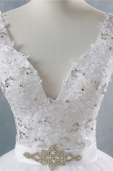 BMbridal Chic Starps V-Neck Beadings Tulle Wedding Dress Sleeveless Appliques Bridal Gowns with Rhinestones_6