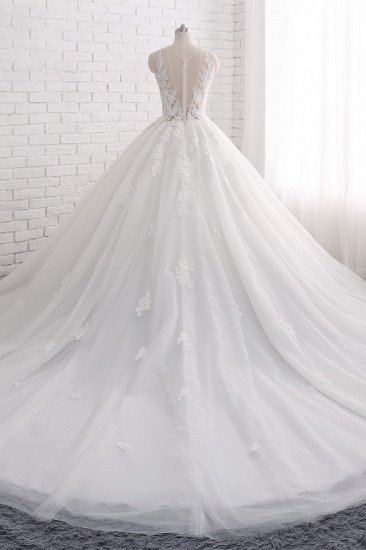 BMbridal Elegant Straps Sleeveless White Wedding Dresses With Appliques A line Tulle Bridal Gowns On Sale_3