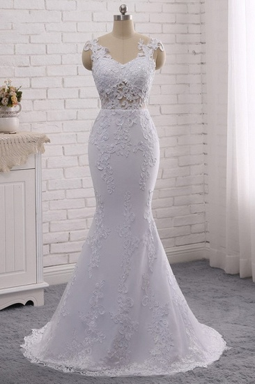 BMbridal Stylish Jewel Mermaid Lace Appliques Wedding Dress White Sleeveless Beadings Bridal Gowns with Overskirt On Sale_7