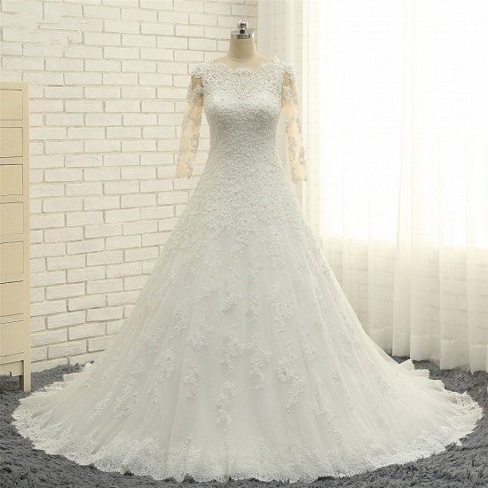 BMbridal Elegant A-Line Jewel White Tulle Lace Wedding Dress 3/4 Sleeves Appliques Bridal Gowns with Pearls_7