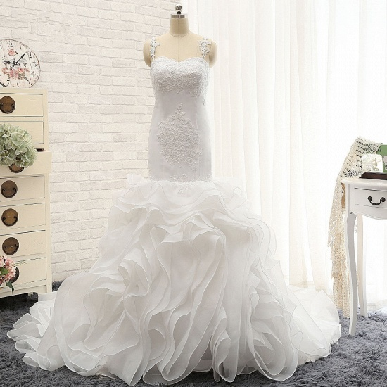 BMbridal Sexy Sleeveless Straps Ruffles Wedding Dresses With Appliques White Mermaid Satin Bridal Gowns Online_6