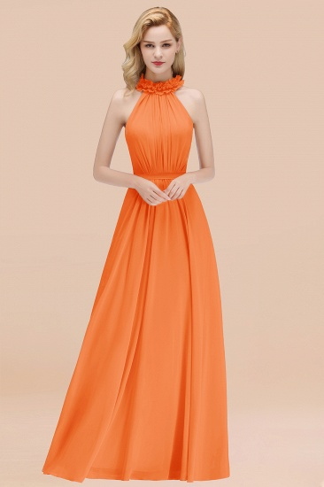 Modest High-Neck Halter Ruffle Chiffon Bridesmaid Dresses Affordable_15