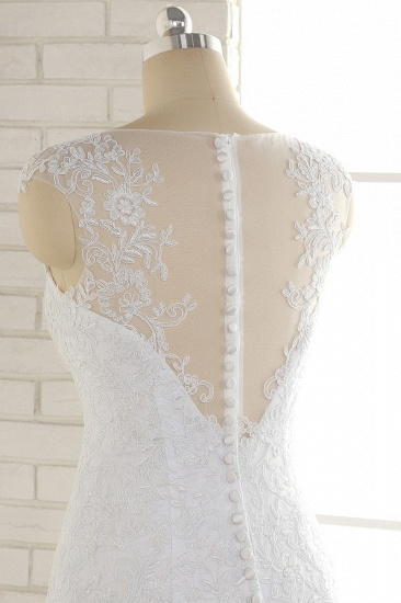 BMbridal Gorgeous White Mermaid Lace Wedding Dresses With Appliques Jewel Sleeveless Bridal Gowns Online_6