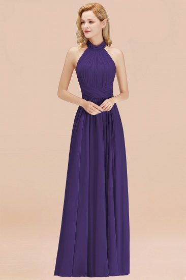 Gorgeous High-Neck Halter Backless Bridesmaid Dress Dusty Rose Chiffon Maid of Honor Dress_19